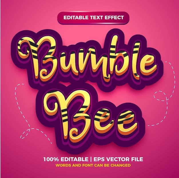 Efeito de texto editável - modelo 3d de estilo de desenho animado abelha abelha