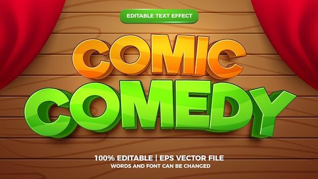 Efeito de texto editável - modelo 3d de estilo de desenho animado de comédia em quadrinhos
