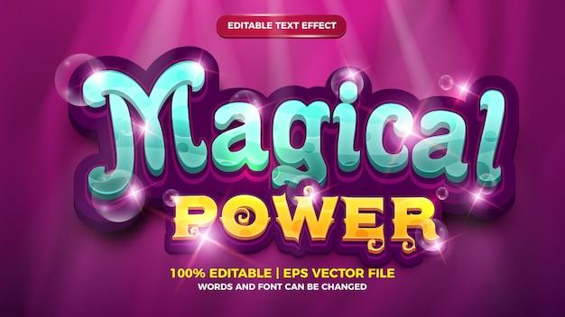 Efeito de texto editável - modelo 3d de estilo de desenho animado de poder mágico
