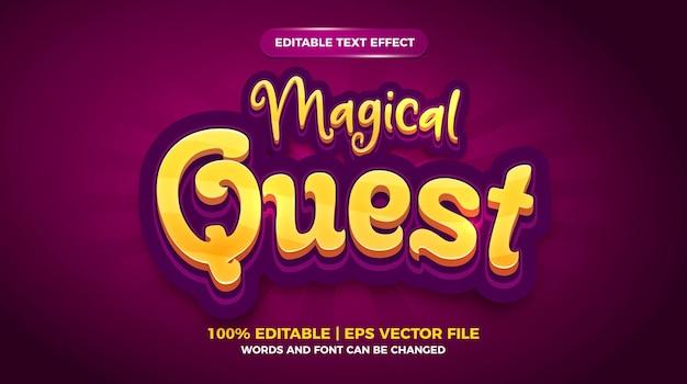 Efeito de texto editável - modelo 3d em estilo cartoon de busca mágica
