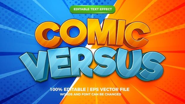 Efeito de texto editável - modelo 3d estilo quadrinhos versus desenhos animados