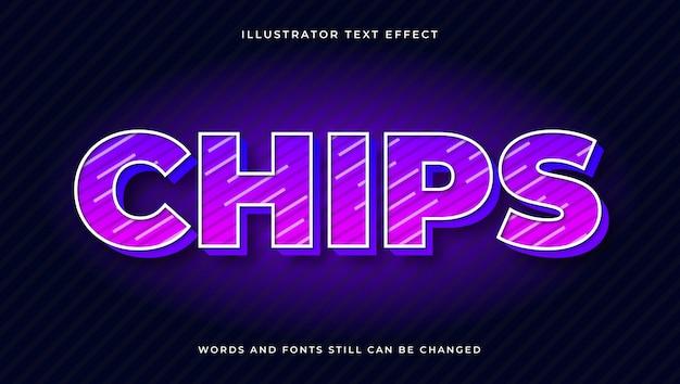 Efeito de texto editável moderno colorido de fichas. estilo de texto elegante