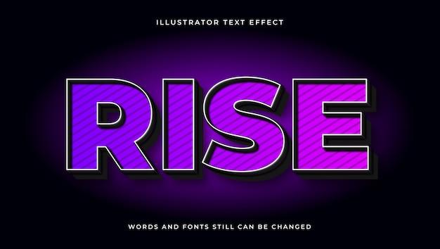Efeito de texto editável moderno colorido de subida. estilo de texto elegante