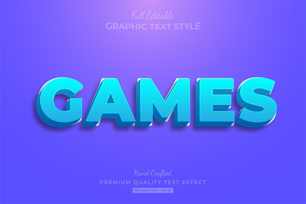 Efeito de texto editável moderno do games cartoon