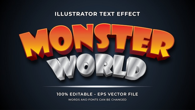 Efeito de texto editável - monster world style