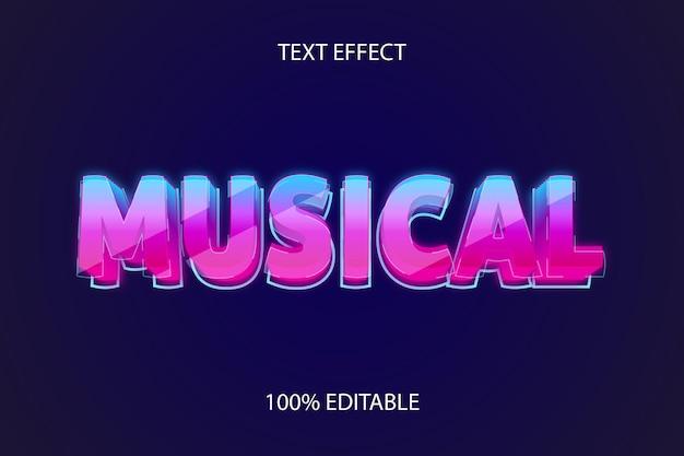 Efeito de texto editável musical style glass neon