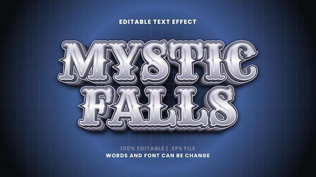 Efeito de texto editável mystic falls em estilo 3d moderno