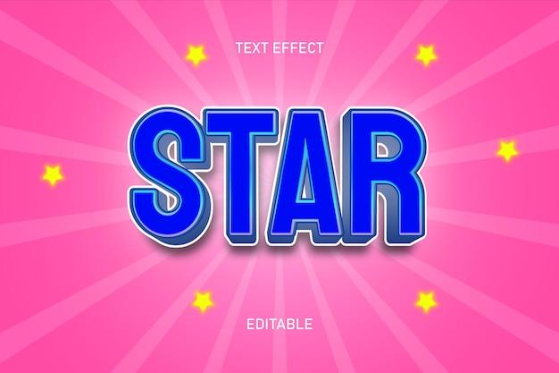 Efeito de texto editável na cor da estrela, azul e rosa