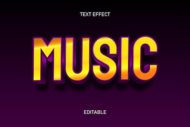 Efeito de texto editável na cor da música ouro roxo