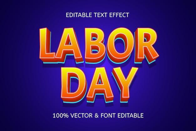 Efeito de texto editável na cor do dia do trabalho, azul laranja