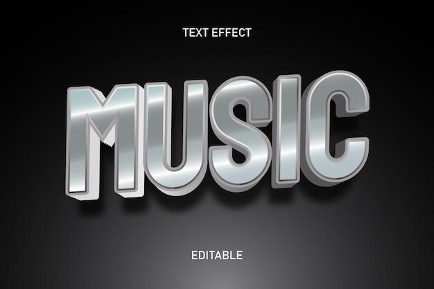 Efeito de texto editável na cor prata da música