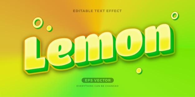 Efeito de texto editável na moda, suco de limão
