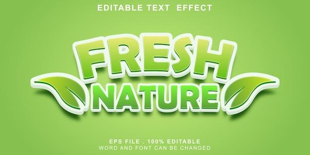 Efeito de texto editável natureza fresca