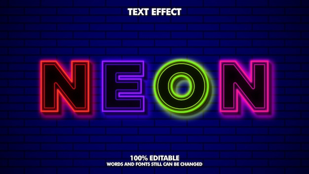 Efeito de texto editável neon flex