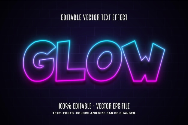 Efeito de texto editável neon glow fácil de alterar ou editar