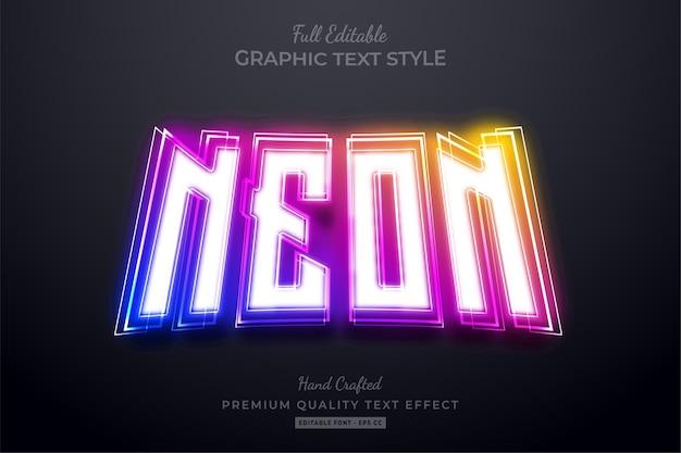 Efeito de texto editável neon gradient glow