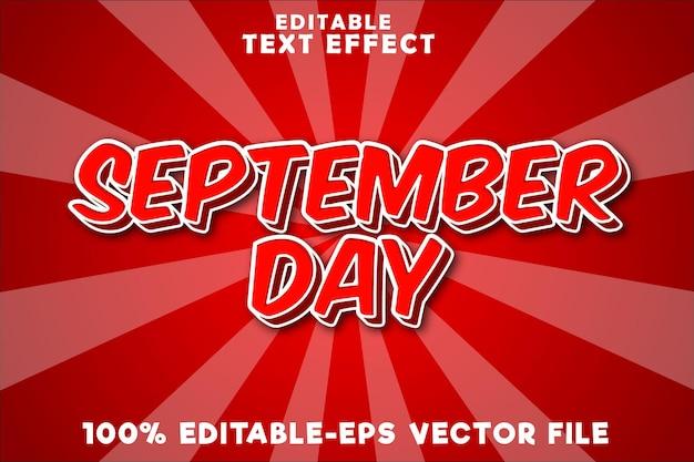 Efeito de texto editável no dia de setembro com estilo cômico moderno