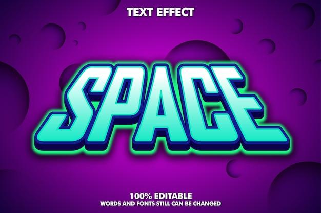 Efeito de texto editável no espaço com escuro