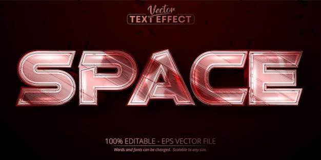 Efeito de texto editável no espaço, cor vermelha metálica brilhante e estilo de fonte prateado