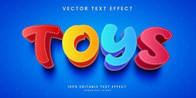 Efeito de texto editável no estilo brinquedos