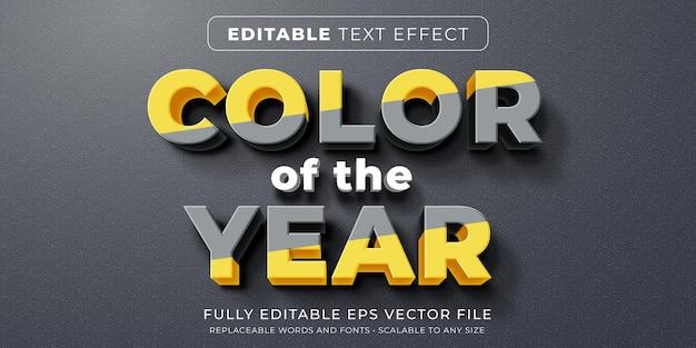 Efeito de texto editável no estilo de divisão da cor do ano de 2021
