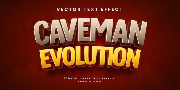 Efeito de texto editável no estilo de evolução do homem das cavernas premium vector