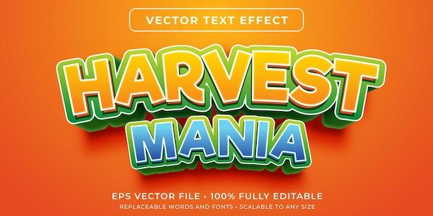 Efeito de texto editável no estilo de jogo de colheita