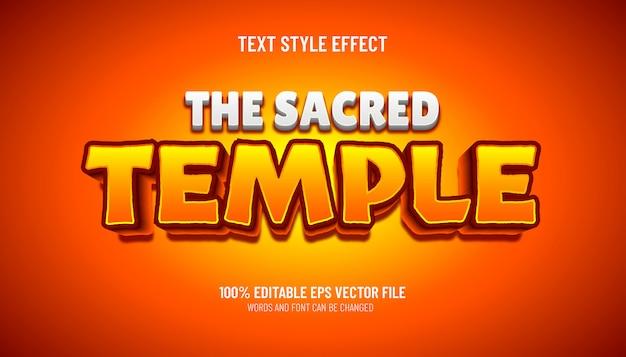 Efeito de texto editável no estilo de jogo do templo sagrado