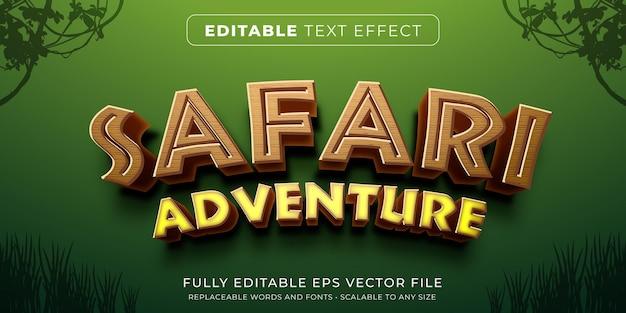 Efeito de texto editável no estilo de jogo safari