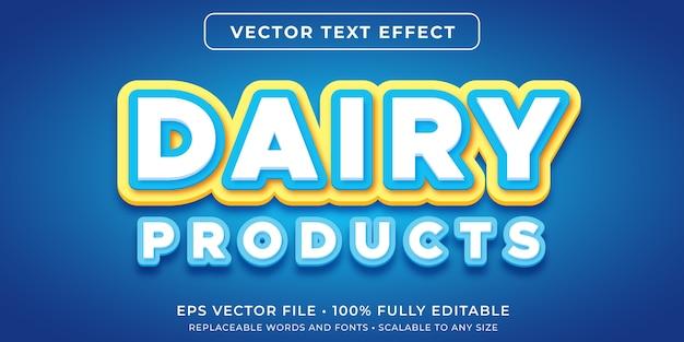 Efeito de texto editável no estilo de texto de produtos lácteos