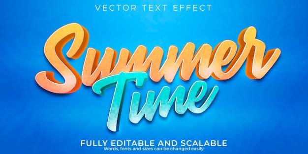 Efeito de texto editável no estilo de texto do horário de verão