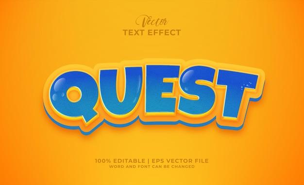 Efeito de texto editável no estilo desenho animado da quest