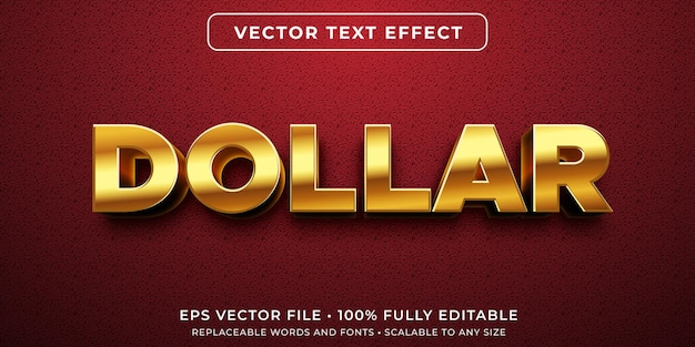 Efeito de texto editável no estilo dólar ouro
