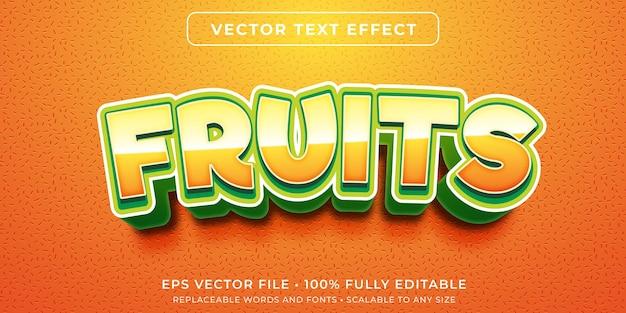 Efeito de texto editável no estilo frutas frescas