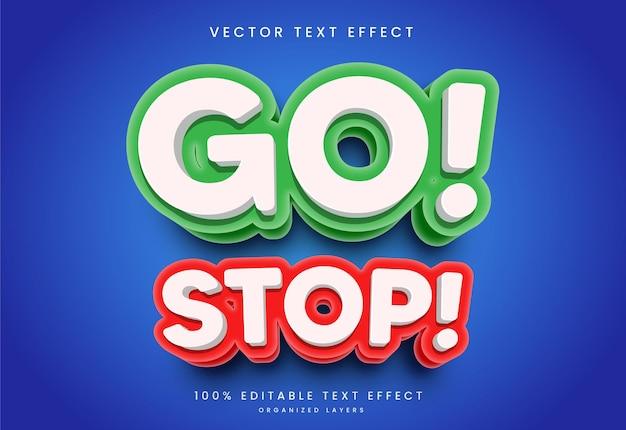 Efeito de texto editável no estilo go stop