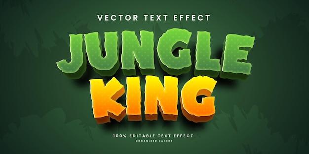 Efeito de texto editável no estilo jungle king premium vector