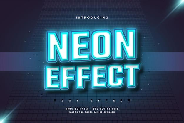 Efeito de texto editável no estilo neon azul brilhante