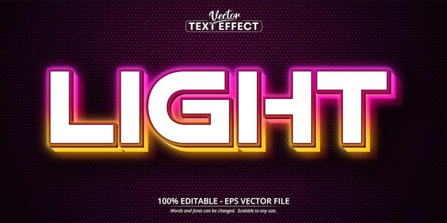 Efeito de texto editável no estilo neon claro