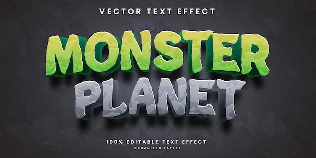 Efeito de texto editável no estilo planeta monstro