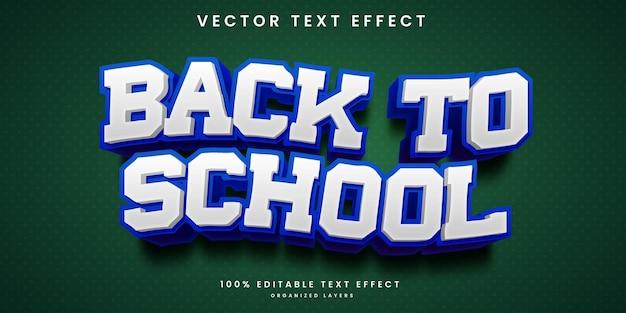 Efeito de texto editável no vetor premium de volta às aulas