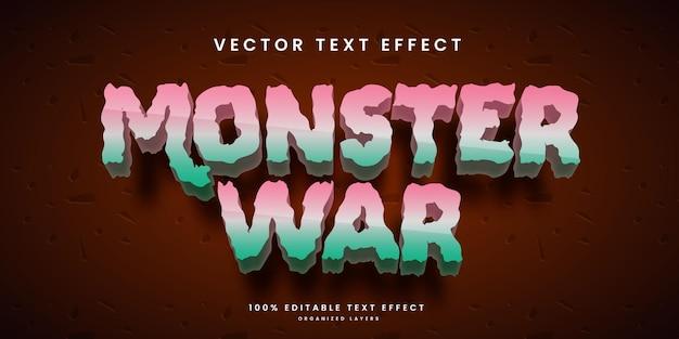 Efeito de texto editável no vetor premium do estilo monster war