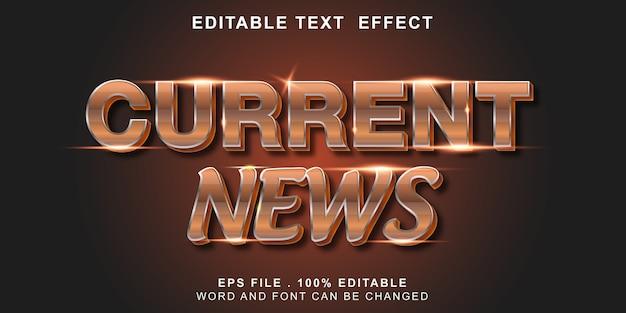 Efeito de texto editável notícias atuais