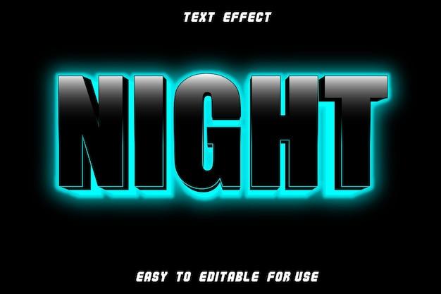 Efeito de texto editável noturno em relevo estilo néon