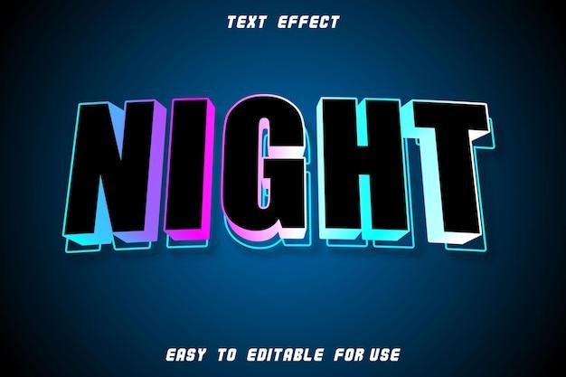 Efeito de texto editável noturno em relevo estilo retro