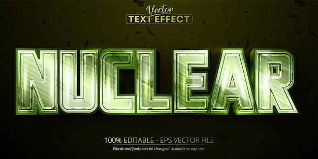 Efeito de texto editável nuclear cor verde metálico brilhante e estilo de fonte cromado
