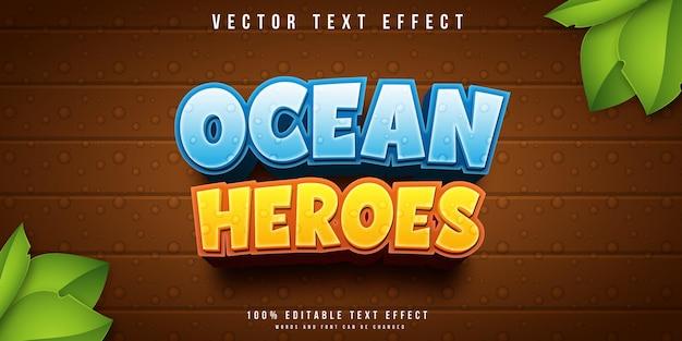 Efeito de texto editável ocean heroes