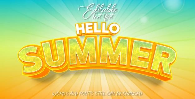 Efeito de texto editável olá verão