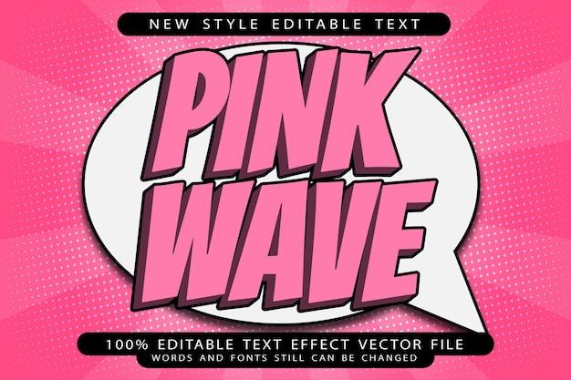 Efeito de texto editável onda rosa em relevo estilo moderno