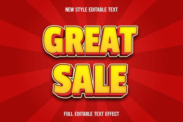 Efeito de texto editável ótima cor de venda amarelo e vermelho