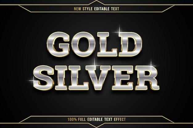 Efeito de texto editável ouro prata cor prata e ouro
